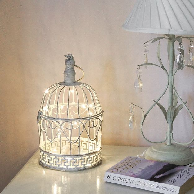 DIY Shabby Chic Decor Ideas - Easy DIY Antique Birdcage Lamp - French Farmhouse and Vintage White Linens - Bedroom, Living Room, Bathroom Ideas, Distressed Furniture and Boho Crafts - Cheap Dollar Store Projects and Upcycle Repurposed Home Decor #diyideas #shabbychic #diyhomedecor