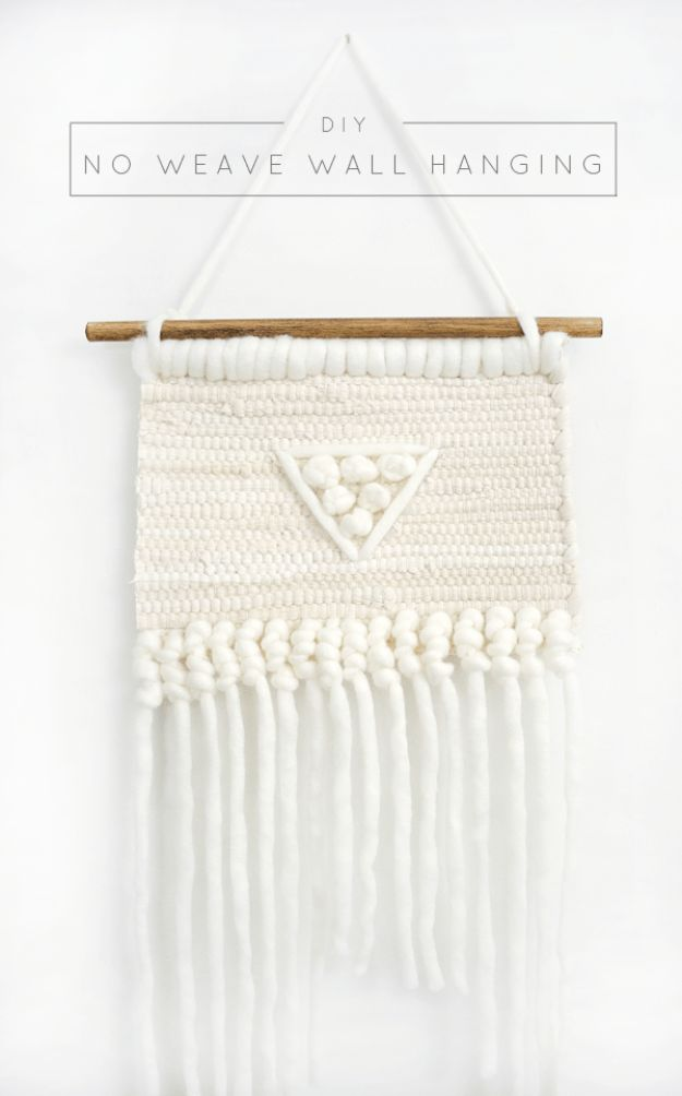DIY Wall Hangings - Easy DIY No-Weave Wall Hanging - Easy Yarn Projects , Macrame Ideas , Fabric Tapestry and Paper Arts and Crafts , Planter and Wood Board Ideas for Bedroom and Living Room Decor - Cute Mobile and Wall Hanging for Nursery and Kids Rooms http://diyjoy.com/diy-wall-hangings
