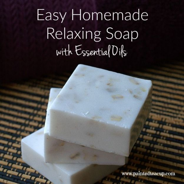 DIY Essential Oil Recipes and Ideas - Easy Homemade Relaxing Soap With Essential Oils - Cool Recipes, Crafts and Home Decor to Make With Essential Oil - Diffuser Projects, Roll On Prodicts for Skin - Recipe Tutorials for Cleaning, Colds, For Sleep, For Hair, For Paint, For Weight Loss http://diyjoy.com/diy-ideas-essential-oils