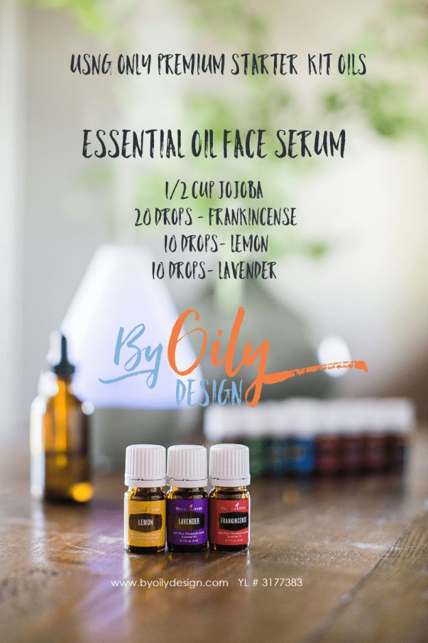 DIY Essential Oil Recipes and Ideas - Essential Oil Face Serum - Cool Recipes, Crafts and Home Decor to Make With Essential Oil - Diffuser Projects, Roll On Prodicts for Skin - Recipe Tutorials for Cleaning, Colds, For Sleep, For Hair, For Paint, For Weight Loss http://diyjoy.com/diy-ideas-essential-oils