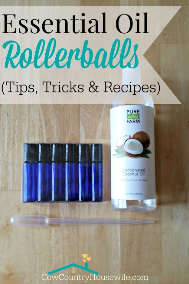 DIY Essential Oil Recipes and Ideas - Essential Oil Rollerball - Cool Recipes, Crafts and Home Decor to Make With Essential Oil - Diffuser Projects, Roll On Prodicts for Skin - Recipe Tutorials for Cleaning, Colds, For Sleep, For Hair, For Paint, For Weight Loss #crafts #diy #essentialoils