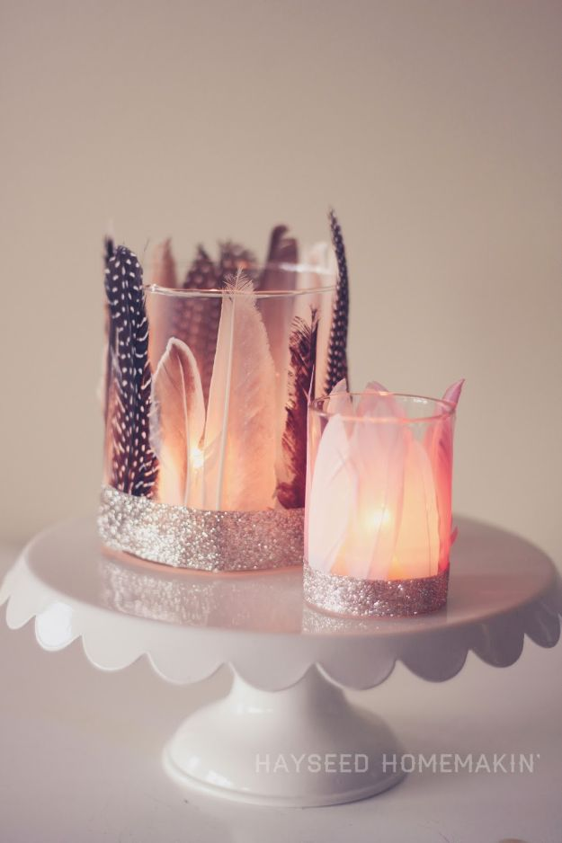 DIY Candle Holders - Feathered Votive Holders - Easy Ideas for Home Decor With Candles, Tall Candlesticks and Votives - Fun Wooden, Rustic, Glass, Mason Jar, Boho and Projects With Items From Dollar Stores - Christmas, Holiday and Wedding Centerpieces - Cool Crafts and Homemade Cheap Gifts http://diyjoy.com/diy-candle-holders