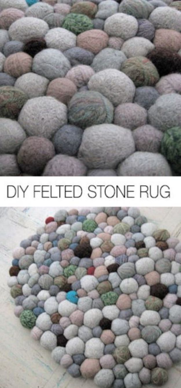 DIY Rugs - Felted Stone Rug - Ideas for An Easy Handmade Rug for Living Room, Bedroom, Kitchen Mat and Cheap Area Rugs You Can Make - Stencil Art Tutorial, Painting Tips, Fabric, Yarn, Old Denim Jeans, Rope, Tshirt, Pom Pom, Fur, Crochet, Woven and Outdoor Projects - Large and Small Carpet #diyrugs #diyhomedecor