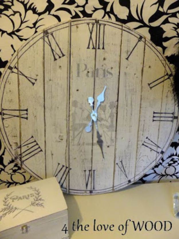 DIY Shabby Chic Decor Ideas - Fence Board Clock - French Farmhouse and Vintage White Linens - Bedroom, Living Room, Bathroom Ideas, Distressed Furniture and Boho Crafts - Cheap Dollar Store Projects and Upcycle Repurposed Home Decor #diyideas #shabbychic #diyhomedecor
