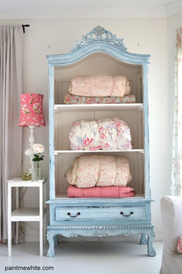 DIY Shabby Chic Decor Ideas - French Armoire Makeover - French Farmhouse and Vintage White Linens - Bedroom, Living Room, Bathroom Ideas, Distressed Furniture and Boho Crafts - Cheap Dollar Store Projects and Upcycle Repurposed Home Decor #diyideas #shabbychic #diyhomedecor