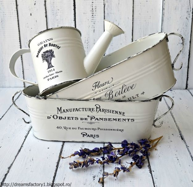 DIY Shabby Chic Decor Ideas - French Made Metal Flower Pots - French Farmhouse and Vintage White Linens - Bedroom, Living Room, Bathroom Ideas, Distressed Furniture and Boho Crafts - Cheap Dollar Store Projects and Upcycle Repurposed Home Decor http://diyjoy.com/shabby-chic-diy