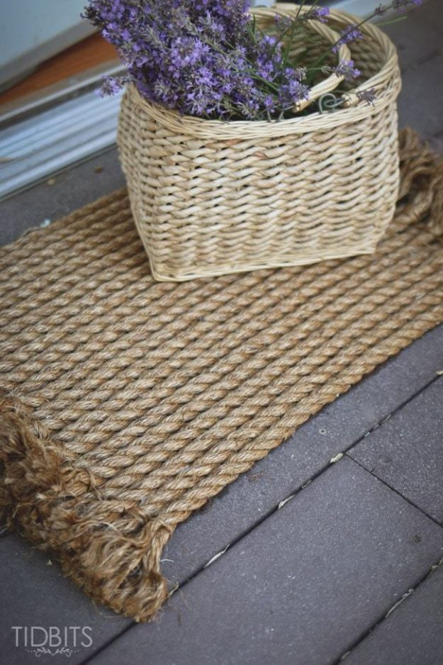DIY Rugs - From Rope To Rug - Ideas for An Easy Handmade Rug for Living Room, Bedroom, Kitchen Mat and Cheap Area Rugs You Can Make - Stencil Art Tutorial, Painting Tips, Fabric, Yarn, Old Denim Jeans, Rope, Tshirt, Pom Pom, Fur, Crochet, Woven and Outdoor Projects - Large and Small Carpet http://diyjoy.com/diy-rug-tutorials