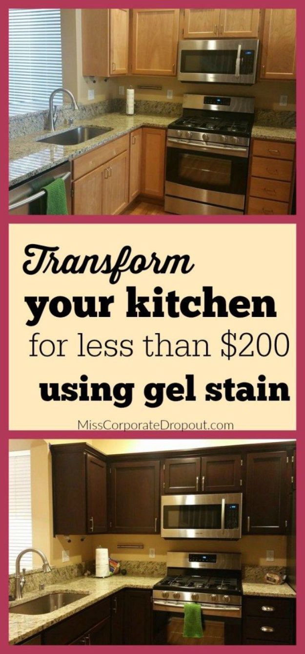 DIY Kitchen Cabinet Ideas - Gel Stained Cabinets - Makeover and Before and After - How To Build, Plan and Renovate Your Kitchen Cabinets - Painted, Cheap Refact, Free Plans, Rustic Decor, Farmhouse and Vintage Looks, Modern Design and Inexpensive Budget Friendly Projects