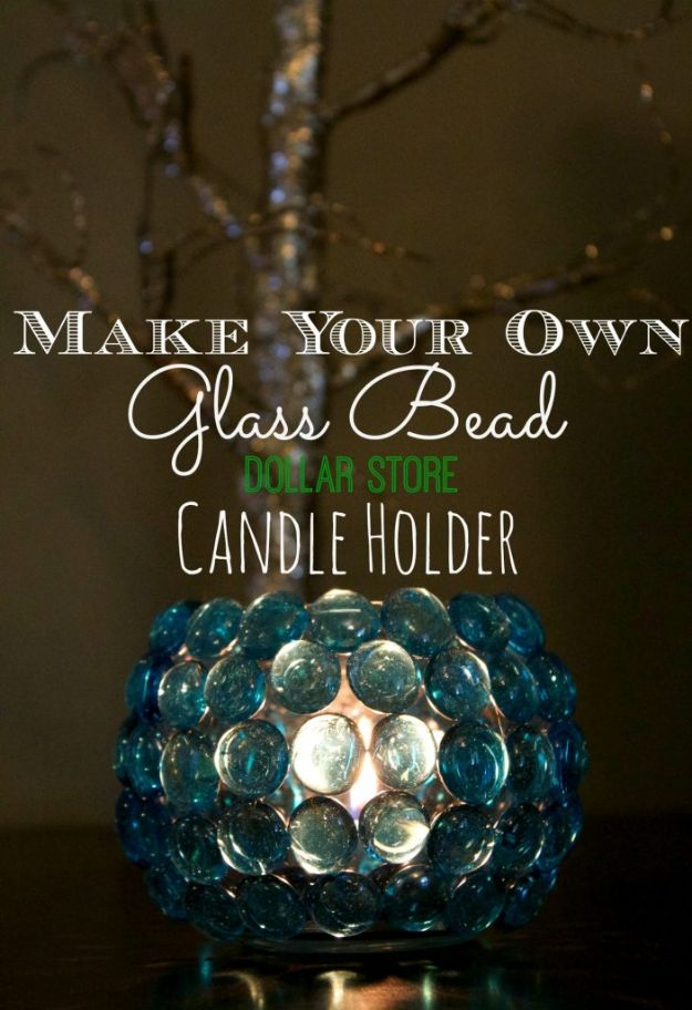 DIY Candle Holders - Glass Bead Candle Holder - Easy Ideas for Home Decor With Candles, Tall Candlesticks and Votives - Fun Wooden, Rustic, Glass, Mason Jar, Boho and Projects With Items From Dollar Stores - Christmas, Holiday and Wedding Centerpieces - Cool Crafts and Homemade Cheap Gifts http://diyjoy.com/diy-candle-holders