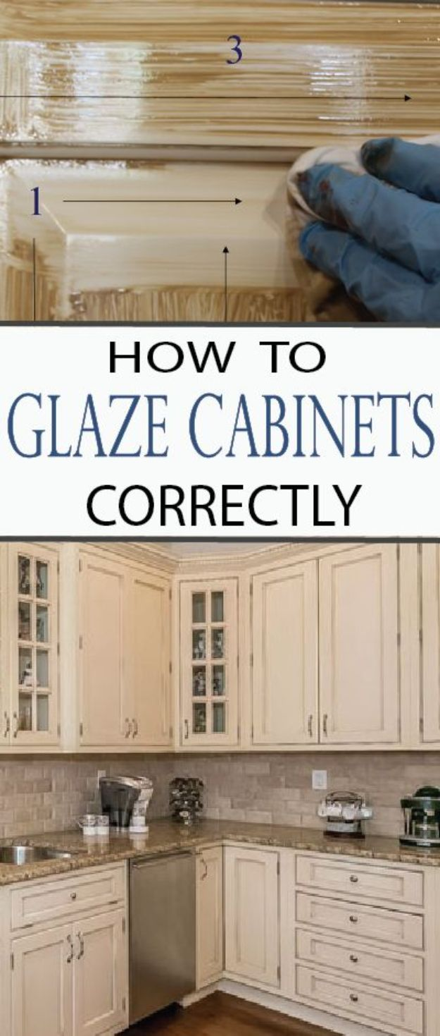 DIY Kitchen Cabinet Ideas - Glaze Cabinets Correctly - Makeover and Before and After - How To Build, Plan and Renovate Your Kitchen Cabinets - Painted, Cheap Refact, Free Plans, Rustic Decor, Farmhouse and Vintage Looks, Modern Design and Inexpensive Budget Friendly Projects