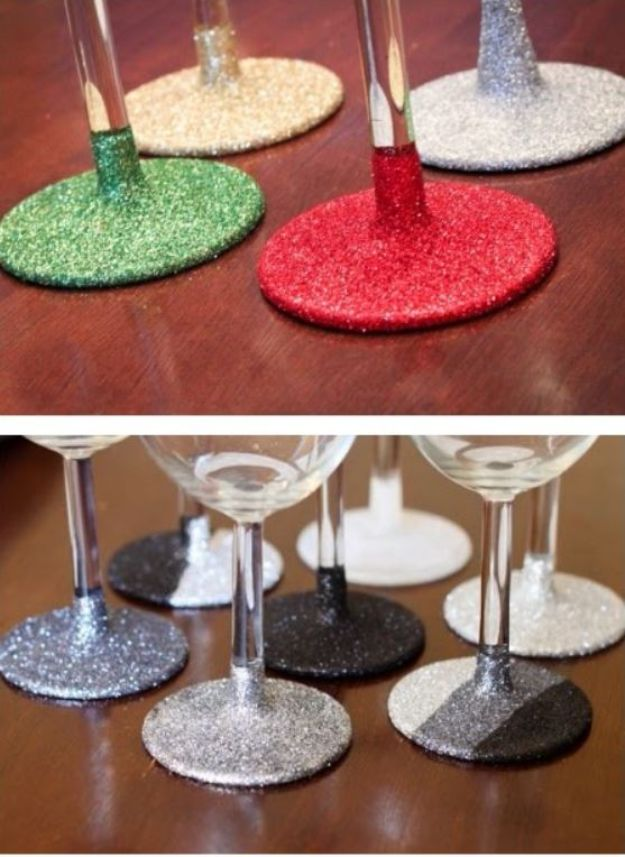 DIY Glassware - Glitter Glassware - Cool Bar and Drink Glasses You Can Make and Decorate for Creative and Unique Serving Glass Ideas - Mugs, Cups, Decanters, Pitchers and Glass Ware Projects - Paint, Etch, Etching Tutorials, Dotted, Sharpie Art and Dishwasher Safe Decorating Tips - Easy DIY Gift Ideas for Him and Her - Handmade Home Decor DIY