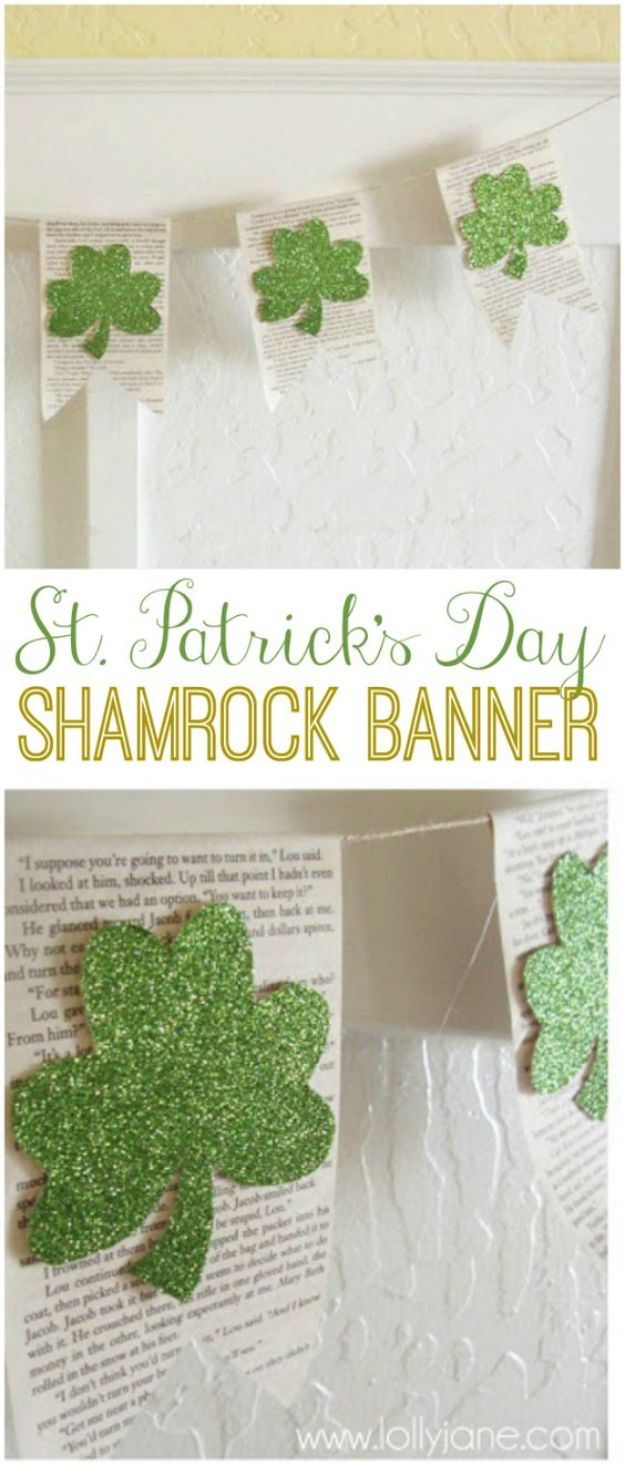 St Patricks Day Decor Ideas - Glitter Shamrock Banner - DIY St. Patrick's Day Party Decorations and Home Decor Crafts - Projects for Walls, Hanging Banners, Wreaths, Tabletop Centerpieces and Party Favors - Green Shamrocks, Leprechauns and Cute and Easy Do It Yourself Decor For Parties - Cheap Dollar Store Ideas for Those On A Budget http://diyjoy.com/diy-st-patricks-day-decor