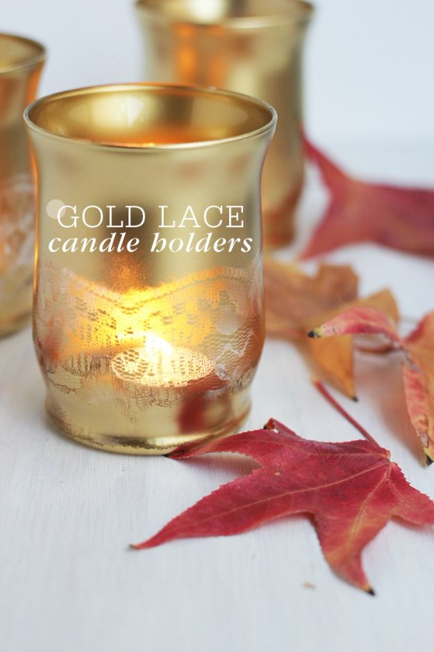 DIY Candle Holders - Gold Lace Candle Holders - Easy Ideas for Home Decor With Candles, Tall Candlesticks and Votives - Fun Wooden, Rustic, Glass, Mason Jar, Boho and Projects With Items From Dollar Stores - Christmas, Holiday and Wedding Centerpieces - Cool Crafts and Homemade Cheap Gifts http://diyjoy.com/diy-candle-holders