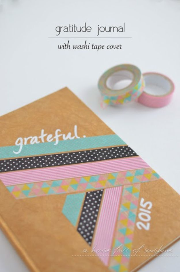 DIY Journals - Gratitude Journal With Washi Tape Cover - Ideas For Making A Handmade Journal - Cover Art Tutorial, Binding Tips, Easy Craft Ideas for Kids and For Teens - Step By Step Instructions for Making From Scratch, From An Old Book - Leather, Faux Marble, Paper, Monogram, Cute Do It Yourself Gift Idea http://diyjoy.com/diy-journals