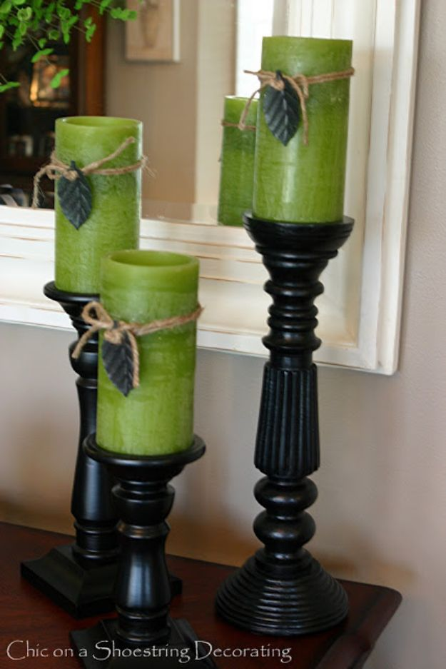 St Patricks Day Decor Ideas - Green Candles Decor - DIY St. Patrick's Day Party Decorations and Home Decor Crafts - Projects for Walls, Hanging Banners, Wreaths, Tabletop Centerpieces and Party Favors - Green Shamrocks, Leprechauns and Cute and Easy Do It Yourself Decor For Parties - Cheap Dollar Store Ideas for Those On A Budget http://diyjoy.com/diy-st-patricks-day-decor