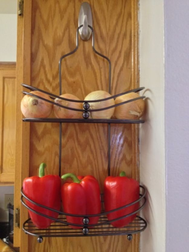 DIY Kitchen Cabinet Ideas - Hang Produce Rack - Makeover and Before and After - How To Build, Plan and Renovate Your Kitchen Cabinets - Painted, Cheap Refact, Free Plans, Rustic Decor, Farmhouse and Vintage Looks, Modern Design and Inexpensive Budget Friendly Projects