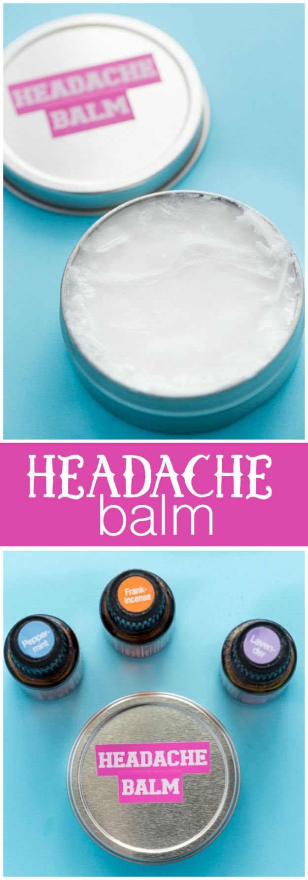 DIY Essential Oil Recipes and Ideas - Headache Balm - Cool Recipes, Crafts and Home Decor to Make With Essential Oil - Diffuser Projects, Roll On Prodicts for Skin - Recipe Tutorials for Cleaning, Colds, For Sleep, For Hair, For Paint, For Weight Loss http://diyjoy.com/diy-ideas-essential-oils