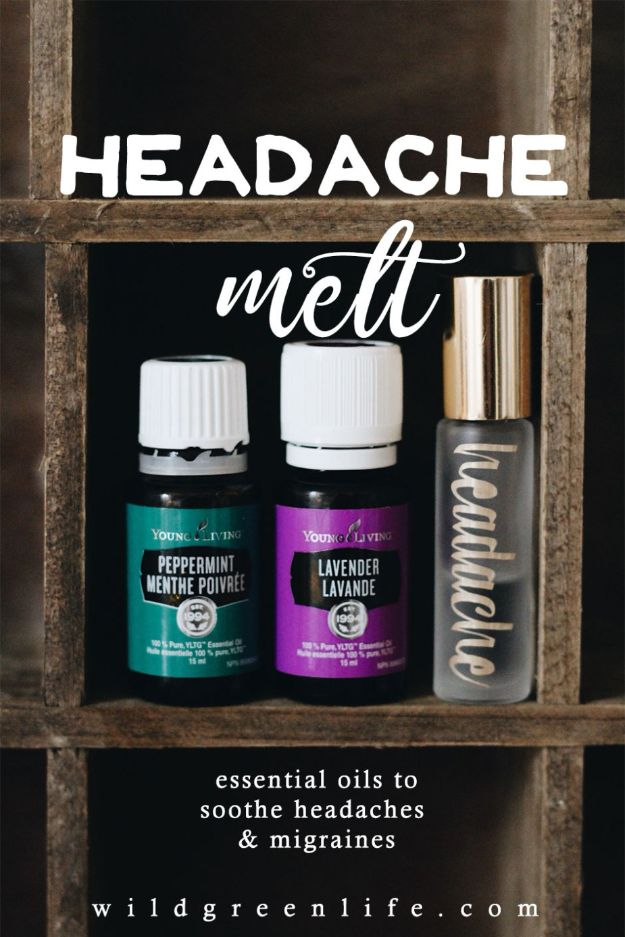 DIY Essential Oil Recipes and Ideas - Headache Melt - Cool Recipes, Crafts and Home Decor to Make With Essential Oil - Diffuser Projects, Roll On Prodicts for Skin - Recipe Tutorials for Cleaning, Colds, For Sleep, For Hair, For Paint, For Weight Loss http://diyjoy.com/diy-ideas-essential-oils