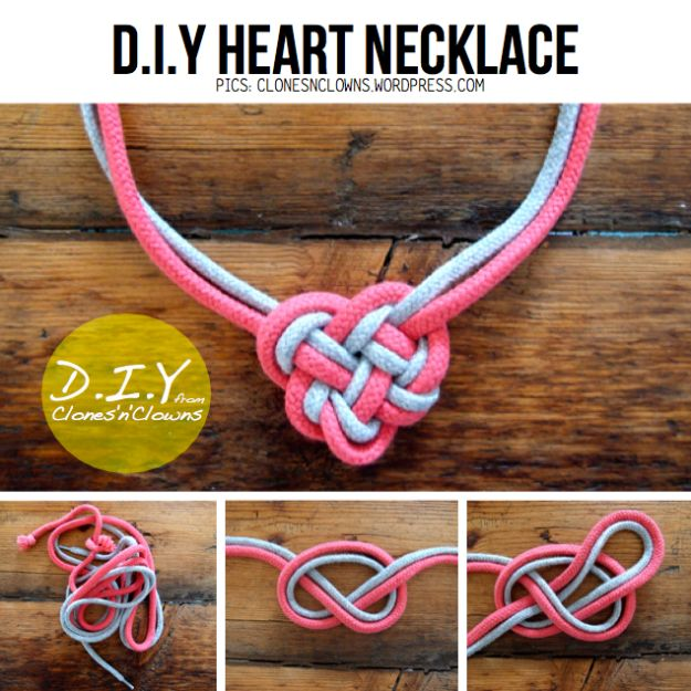 Best Mothers Day Ideas - Heart Knot Necklace - Easy and Cute DIY Projects to Make for Mom - Cool Gifts and Homemade Cards, Gift in A Jar Ideas - Cheap Things You Can Make for Your Mother http://diyjoy.com/diy-mothers-day-ideas