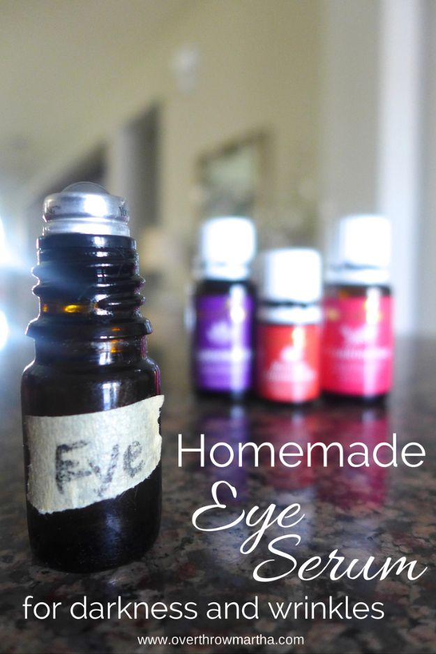 DIY Essential Oil Recipes and Ideas - Homemade Eye Serum - Cool Recipes, Crafts and Home Decor to Make With Essential Oil - Diffuser Projects, Roll On Prodicts for Skin - Recipe Tutorials for Cleaning, Colds, For Sleep, For Hair, For Paint, For Weight Loss http://diyjoy.com/diy-ideas-essential-oils