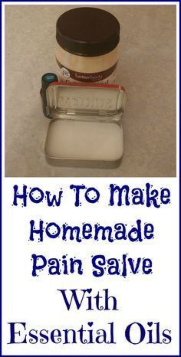 DIY Essential Oil Recipes and Ideas - Homemade Pain Salve - Cool Recipes, Crafts and Home Decor to Make With Essential Oil - Diffuser Projects, Roll On Prodicts for Skin - Recipe Tutorials for Cleaning, Colds, For Sleep, For Hair, For Paint, For Weight Loss http://diyjoy.com/diy-ideas-essential-oils