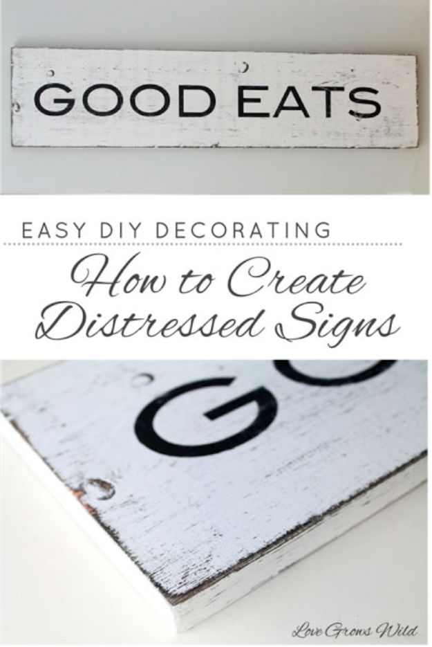 DIY Vintage Signs - How To Create Distressed Signs - Rustic, Vintage Sign Projects to Make At Home - Creative Home Decor on a Budget and Cheap Crafts for Living Room, Bedroom and Kitchen - Paint Letters, Transfer to Wood, Aged Finishes and Fun Word Stencils and Easy Ideas for Farmhouse Wall Art http://diyjoy.com/diy-vintage-signs