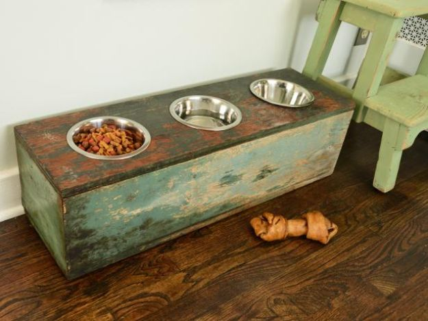 DIY Pet Bowls And Feeding Stations - How To Make A Pet Feeding Station - Easy Ideas for Serving Dog and Cat Food, Ways to Raise and Store Bowls - Organize Your Dog Food and Water Bowl With These Cute and Creative Ideas for Dogs and Cats- Monogram, Painted, Personalized and Rustic Crafts and Projects http://diyjoy.com/diy-pet-bowls-feeding-station