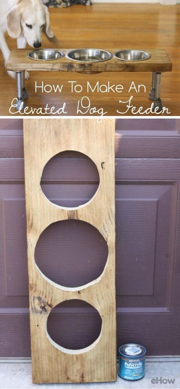 DIY Pet Bowls And Feeding Stations - How To Make An Elevated Dog Feeder - Easy Ideas for Serving Dog and Cat Food, Ways to Raise and Store Bowls - Organize Your Dog Food and Water Bowl With These Cute and Creative Ideas for Dogs and Cats- Monogram, Painted, Personalized and Rustic Crafts and Projects http://diyjoy.com/diy-pet-bowls-feeding-station
