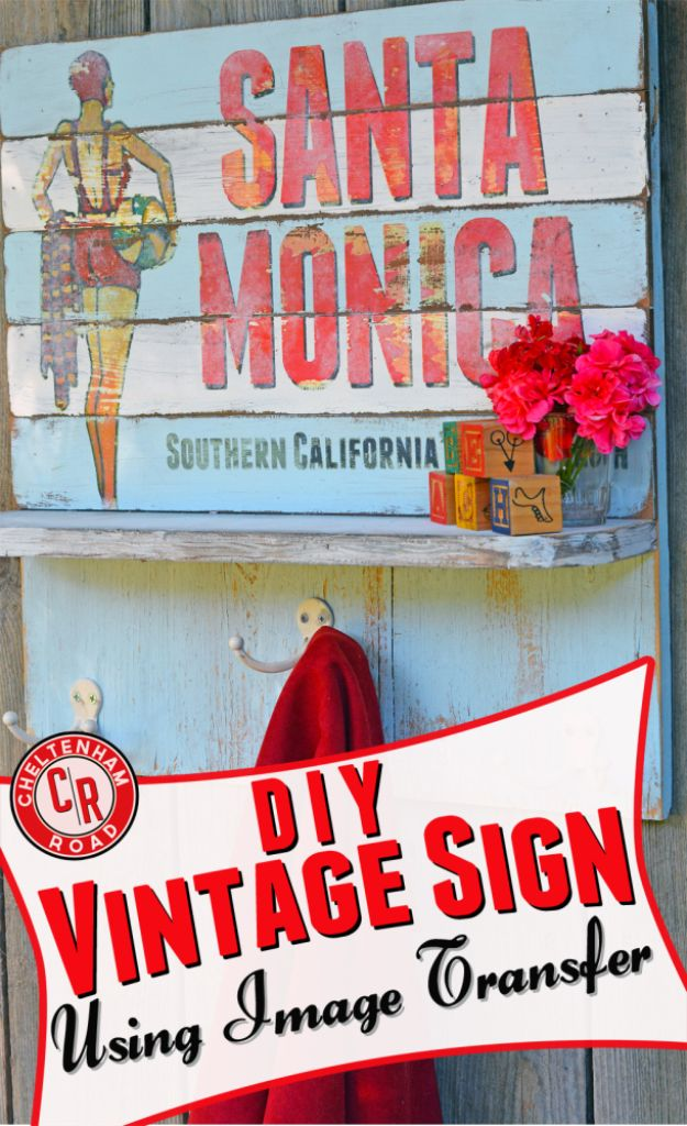 DIY Vintage Signs - Image Transfer Vintage Sign - Rustic, Vintage Sign Projects to Make At Home - Creative Home Decor on a Budget and Cheap Crafts for Living Room, Bedroom and Kitchen - Paint Letters, Transfer to Wood, Aged Finishes and Fun Word Stencils and Easy Ideas for Farmhouse Wall Art http://diyjoy.com/diy-vintage-signs