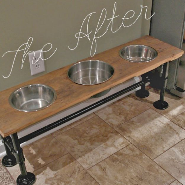 DIY Pet Bowls And Feeding Stations - Industrial Dog Feeder Tutorial - Easy Ideas for Serving Dog and Cat Food, Ways to Raise and Store Bowls - Organize Your Dog Food and Water Bowl With These Cute and Creative Ideas for Dogs and Cats- Monogram, Painted, Personalized and Rustic Crafts and Projects http://diyjoy.com/diy-pet-bowls-feeding-station