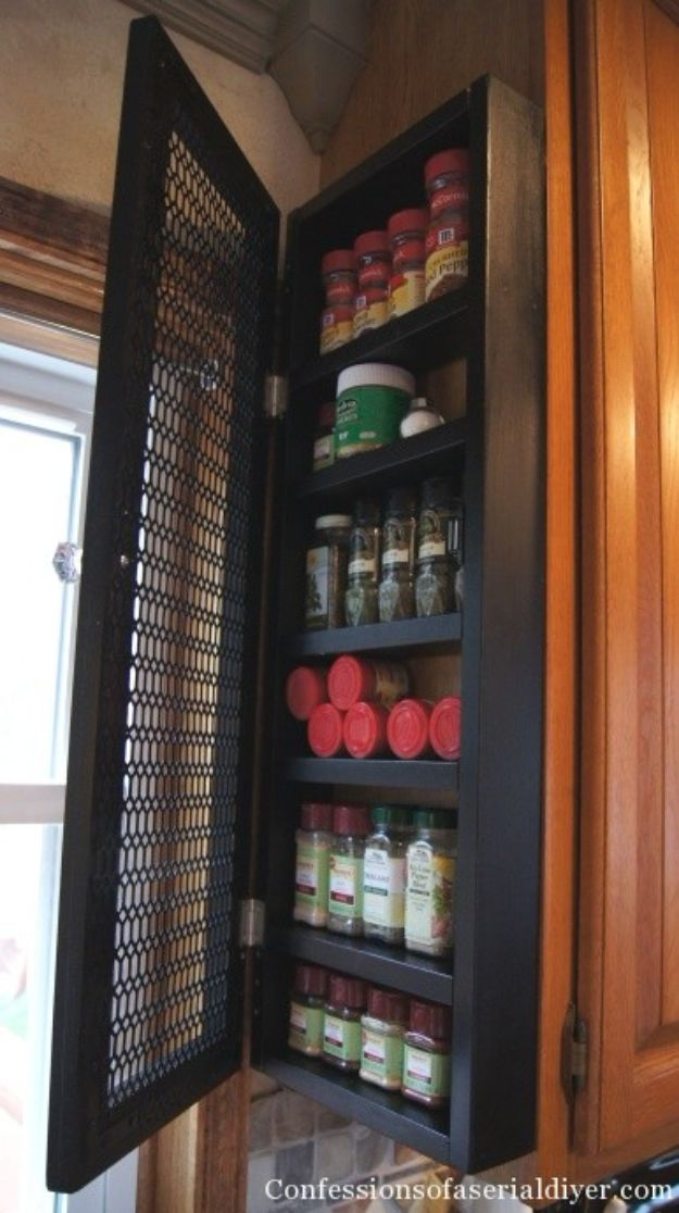 DIY Kitchen Cabinet Ideas - Install Spice Rack - Makeover and Before and After - How To Build, Plan and Renovate Your Kitchen Cabinets - Painted, Cheap Refact, Free Plans, Rustic Decor, Farmhouse and Vintage Looks, Modern Design and Inexpensive Budget Friendly Projects
