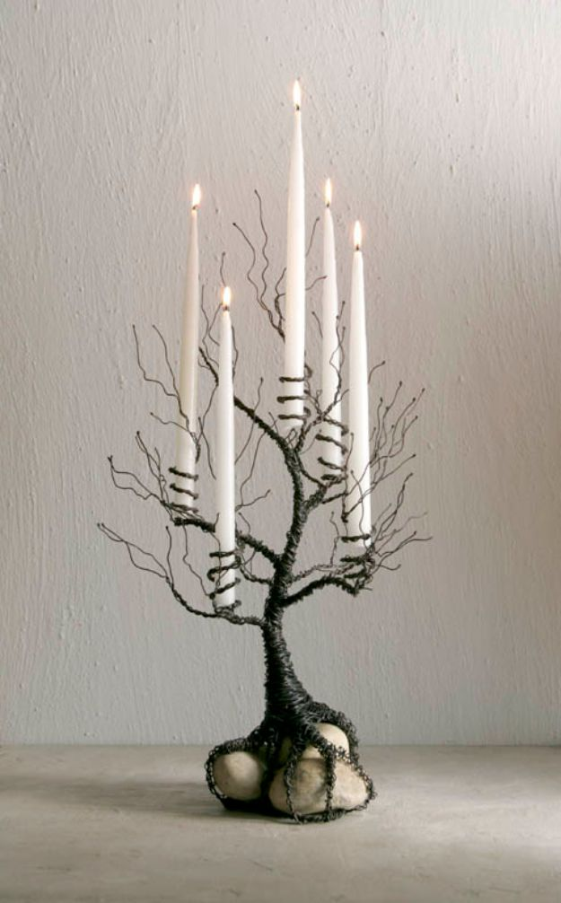 DIY Candle Holders - Jewelry Wire Candle Holder - Easy Ideas for Home Decor With Candles, Tall Candlesticks and Votives - Fun Wooden, Rustic, Glass, Mason Jar, Boho and Projects With Items From Dollar Stores - Christmas, Holiday and Wedding Centerpieces - Cool Crafts and Homemade Cheap Gifts http://diyjoy.com/diy-candle-holders