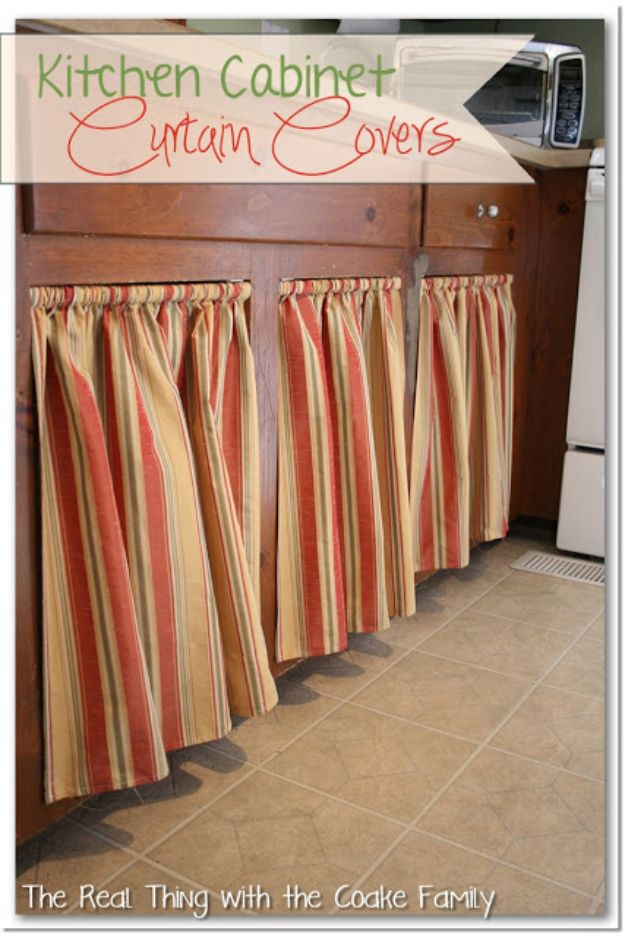 DIY Kitchen Cabinet Ideas - Kitchen Cabinet Curtain Covers - Makeover and Before and After - How To Build, Plan and Renovate Your Kitchen Cabinets - Painted, Cheap Refact, Free Plans, Rustic Decor, Farmhouse and Vintage Looks, Modern Design and Inexpensive Budget Friendly Projects