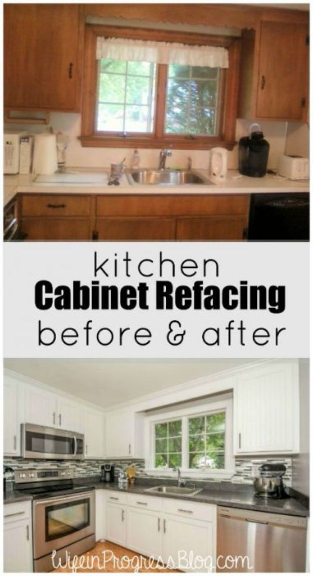 DIY Kitchen Cabinet Ideas - Kitchen Cabinet Refacing - Makeover and Before and After - How To Build, Plan and Renovate Your Kitchen Cabinets - Painted, Cheap Refact, Free Plans, Rustic Decor, Farmhouse and Vintage Looks, Modern Design and Inexpensive Budget Friendly Projects
