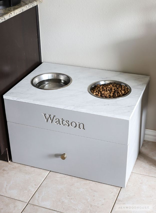 DIY Pet Bowls And Feeding Stations - Large Dog Food Station - Easy Ideas for Serving Dog and Cat Food, Ways to Raise and Store Bowls - Organize Your Dog Food and Water Bowl With These Cute and Creative Ideas for Dogs and Cats- Monogram, Painted, Personalized and Rustic Crafts and Projects http://diyjoy.com/diy-pet-bowls-feeding-station