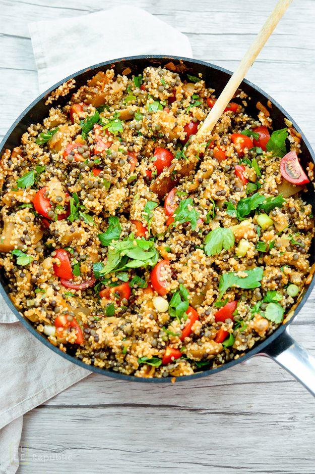 Best Lowfat Recipes - Lentil Quinoa Salad With Eggplant - Easy Low fat and Healthy Recipe Ideas For Eating Well and Dieting, Weight Loss - Quick Breakfasts, Lunch, Dinner, Snack and Desserts - Foods with Chicken, Vegetables, Salad, Low Carb, Beef, Egg, Gluten Free http://diyjoy.com/best-lowfat-recipes