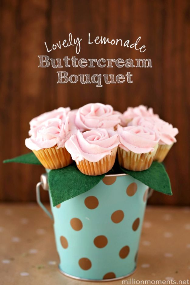 Best Mothers Day Ideas - Lovely Lemonade Buttercream Bouquet - Easy and Cute DIY Projects to Make for Mom - Cool Gifts and Homemade Cards, Gift in A Jar Ideas - Cheap Things You Can Make for Your Mother http://diyjoy.com/diy-mothers-day-ideas