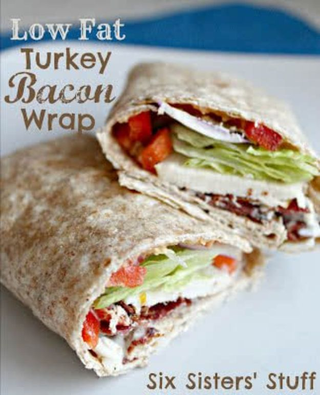 Best Lowfat Recipes - Low Fat Turkey Bacon Wrap - Easy Low fat and Healthy Recipe Ideas For Eating Well and Dieting, Weight Loss - Quick Breakfasts, Lunch, Dinner, Snack and Desserts - Foods with Chicken, Vegetables, Salad, Low Carb, Beef, Egg, Gluten Free http://diyjoy.com/best-lowfat-recipes