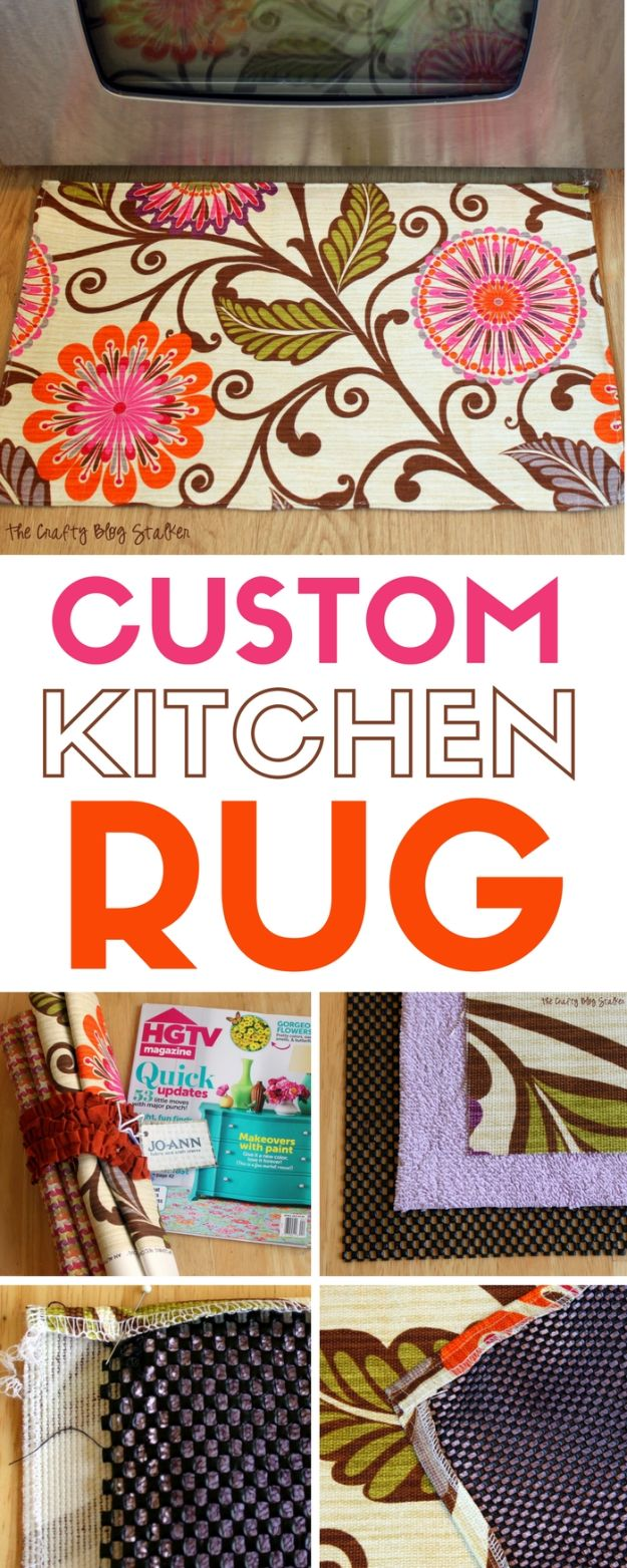 DIY Rugs - Make A Custom Kitchen Rug - Ideas for An Easy Handmade Rug for Living Room, Bedroom, Kitchen Mat and Cheap Area Rugs You Can Make - Stencil Art Tutorial, Painting Tips, Fabric, Yarn, Old Denim Jeans, Rope, Tshirt, Pom Pom, Fur, Crochet, Woven and Outdoor Projects - Large and Small Carpet #diyrugs #diyhomedecor