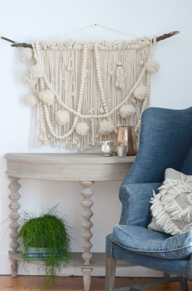 DIY Wall Hangings - Make A DIY Wall Hanging with a Mop - Easy Yarn Projects , Macrame Ideas , Fabric Tapestry and Paper Arts and Crafts , Planter and Wood Board Ideas for Bedroom and Living Room Decor - Cute Mobile and Wall Hanging for Nursery and Kids Rooms http://diyjoy.com/diy-wall-hangings