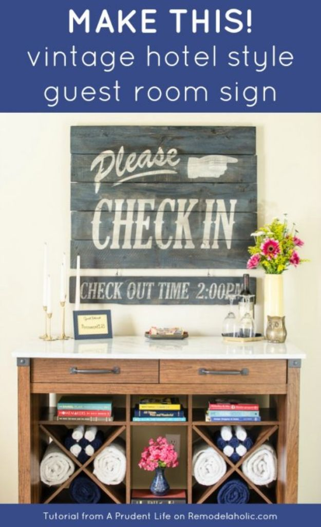 DIY Vintage Signs - Make This Vintage Hotel Style Guest Room Sign - Rustic, Vintage Sign Projects to Make At Home - Creative Home Decor on a Budget and Cheap Crafts for Living Room, Bedroom and Kitchen - Paint Letters, Transfer to Wood, Aged Finishes and Fun Word Stencils and Easy Ideas for Farmhouse Wall Art http://diyjoy.com/diy-vintage-signs