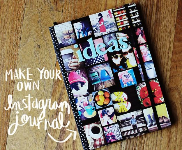 DIY Journals - Make Your Own Instagram Journal - Ideas For Making A Handmade Journal - Cover Art Tutorial, Binding Tips, Easy Craft Ideas for Kids and For Teens - Step By Step Instructions for Making From Scratch, From An Old Book - Leather, Faux Marble, Paper, Monogram, Cute Do It Yourself Gift Idea http://diyjoy.com/diy-journals