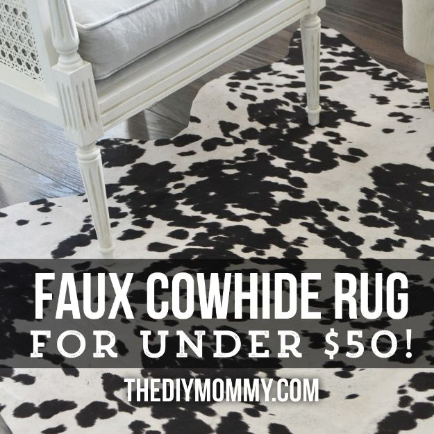 DIY Rugs - Make a Faux Cowhide Rug for Under $50 - Ideas for An Easy Handmade Rug for Living Room, Bedroom, Kitchen Mat and Cheap Area Rugs You Can Make - Stencil Art Tutorial, Painting Tips, Fabric, Yarn, Old Denim Jeans, Rope, Tshirt, Pom Pom, Fur, Crochet, Woven and Outdoor Projects - Large and Small Carpet #diyrugs #diyhomedecor