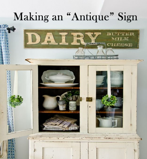"DIY Vintage Signs - Making An ""Antique"" Sign - Rustic, Vintage Sign Projects to Make At Home - Creative Home Decor on a Budget and Cheap Crafts for Living Room, Bedroom and Kitchen - Paint Letters, Transfer to Wood, Aged Finishes and Fun Word Stencils and Easy Ideas for Farmhouse Wall Art http://diyjoy.com/diy-vintage-signs"