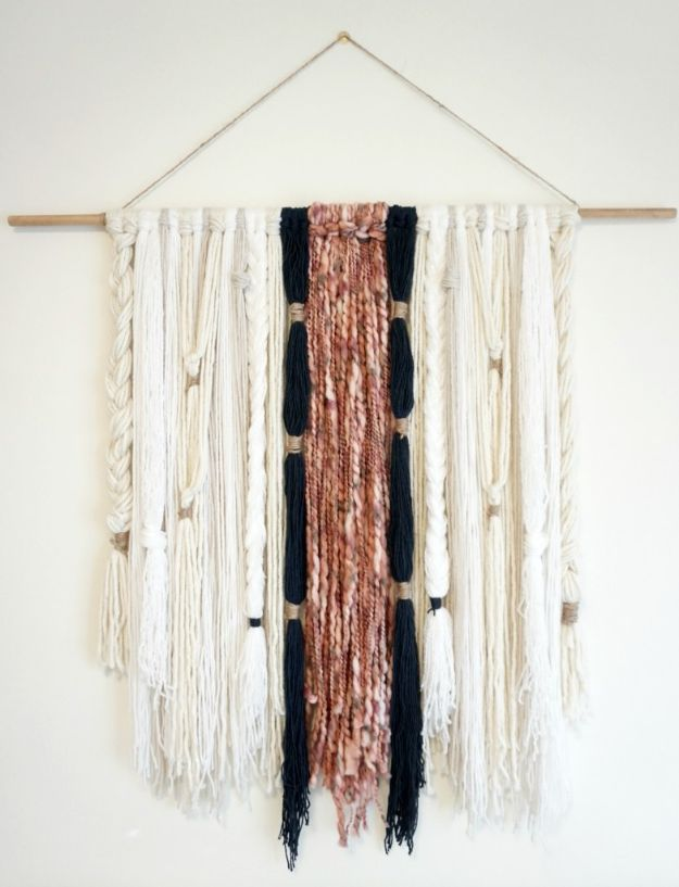 DIY Wall Hangings - Modern Boho Yarn Wall Hanging - Easy Yarn Projects , Macrame Ideas , Fabric Tapestry and Paper Arts and Crafts , Planter and Wood Board Ideas for Bedroom and Living Room Decor - Cute Mobile and Wall Hanging for Nursery and Kids Rooms http://diyjoy.com/diy-wall-hangings