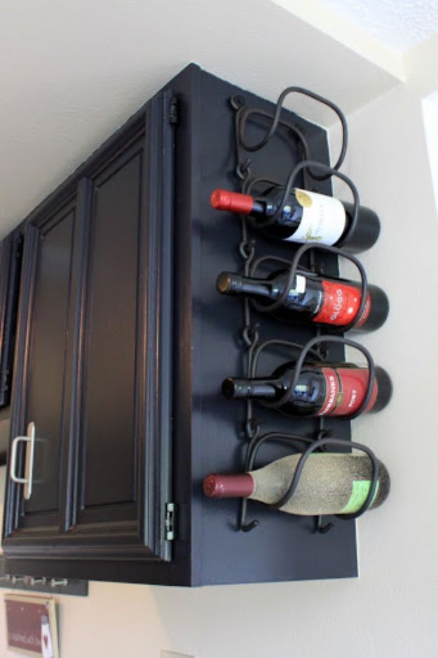 DIY Kitchen Cabinet Ideas - Mount A Wine Rack - Makeover and Before and After - How To Build, Plan and Renovate Your Kitchen Cabinets - Painted, Cheap Refact, Free Plans, Rustic Decor, Farmhouse and Vintage Looks, Modern Design and Inexpensive Budget Friendly Projects