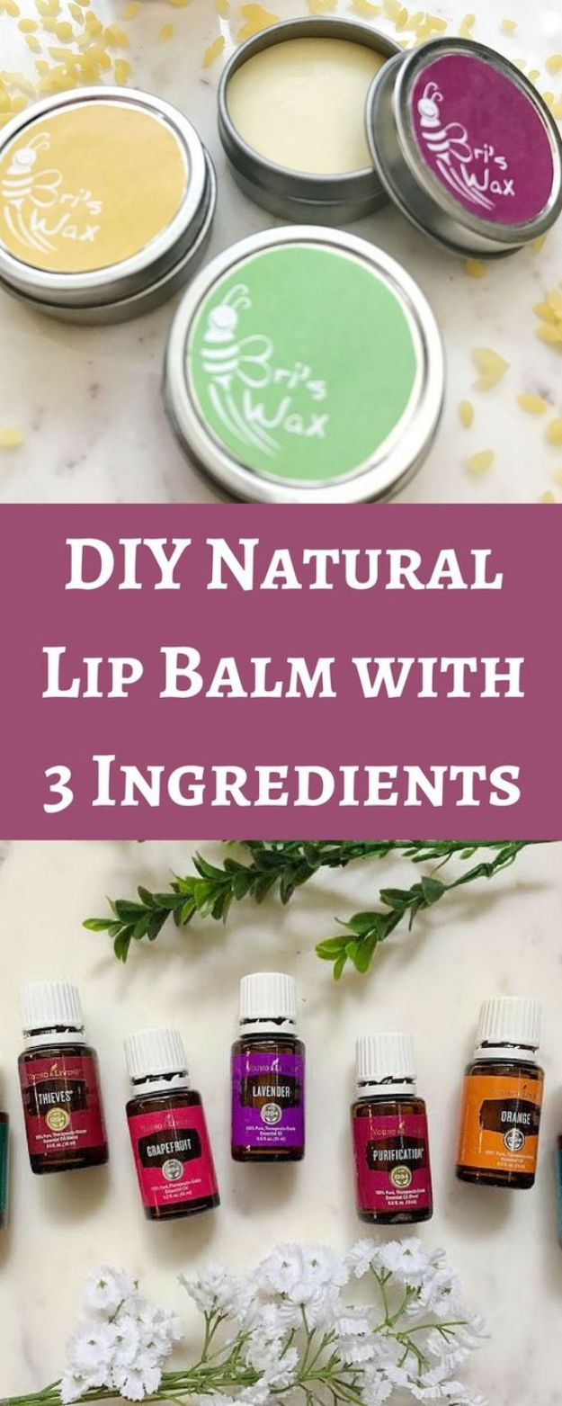 DIY Essential Oil Recipes and Ideas - Natural DIY Lip Balm With Essential Oils - Cool Recipes, Crafts and Home Decor to Make With Essential Oil - Diffuser Projects, Roll On Prodicts for Skin - Recipe Tutorials for Cleaning, Colds, For Sleep, For Hair, For Paint, For Weight Loss #crafts #diy #essentialoils