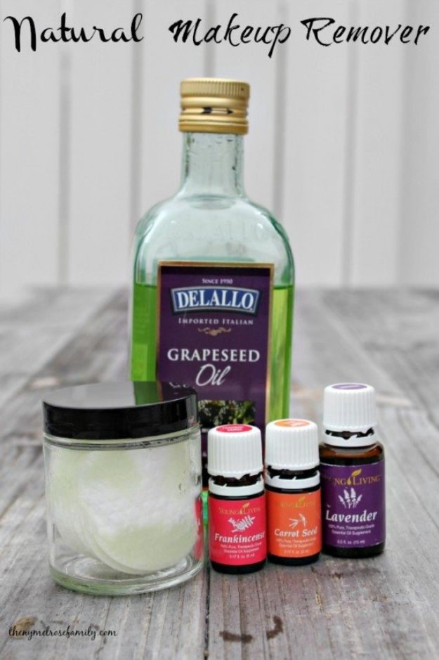 DIY Essential Oil Recipes and Ideas - Natural Makeup Remover - Cool Recipes, Crafts and Home Decor to Make With Essential Oil - Diffuser Projects, Roll On Prodicts for Skin - Recipe Tutorials for Cleaning, Colds, For Sleep, For Hair, For Paint, For Weight Loss http://diyjoy.com/diy-ideas-essential-oils