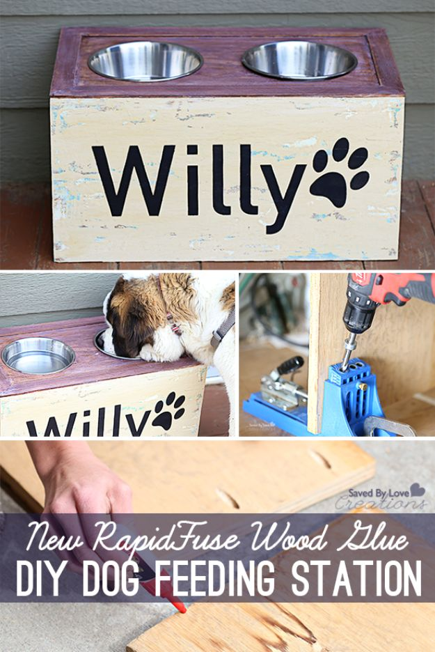 DIY Pet Bowls And Feeding Stations - New RapidFuse Wood Glue DIY Dog Feeding Station - Easy Ideas for Serving Dog and Cat Food, Ways to Raise and Store Bowls - Organize Your Dog Food and Water Bowl With These Cute and Creative Ideas for Dogs and Cats- Monogram, Painted, Personalized and Rustic Crafts and Projects http://diyjoy.com/diy-pet-bowls-feeding-station