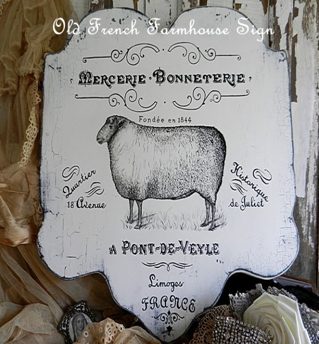 DIY Vintage Signs - Old French Sign - Rustic, Vintage Sign Projects to Make At Home - Creative Home Decor on a Budget and Cheap Crafts for Living Room, Bedroom and Kitchen - Paint Letters, Transfer to Wood, Aged Finishes and Fun Word Stencils and Easy Ideas for Farmhouse Wall Art http://diyjoy.com/diy-vintage-signs
